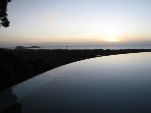 Infinity edge pool at sunrise
